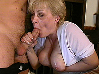 Curvy granny gets facial cumshot.