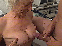 Busty lascivious granny loves hot tit jobs.