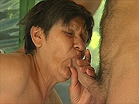 Two lustful old moms seduce young guy.