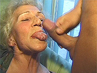 Stud fucks granny in her hairy pussy.